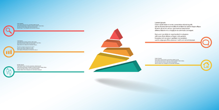 3D illustration infographic template. The embossed triangle is randomly divided to five shifted color parts. Object is arranged on blue white background. Lines with signs in circles are on sides. Vektorové ilustrace