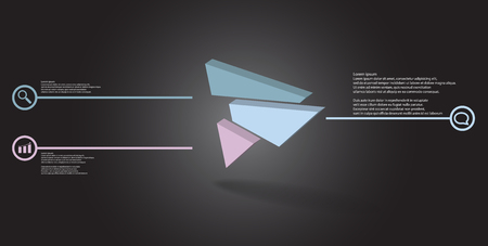 3D illustration infographic template. The embossed triangle is randomly divided to three color shifted parts. Object is askew arranged on grey black background. Lines with signs in circles are on sides.