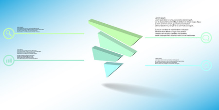 3D illustration infographic template. The embossed triangle is randomly divided to four color shifted parts. Object is askew arranged on blue white background. Lines with signs in circles are on sides.