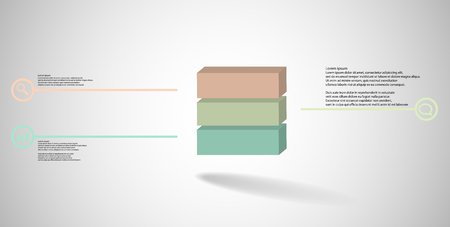 3D illustration infographic template. The embossed cube is horizontally divided to three color parts. Object is arranged on grey white background. Lines with signs are on sides. Illustration