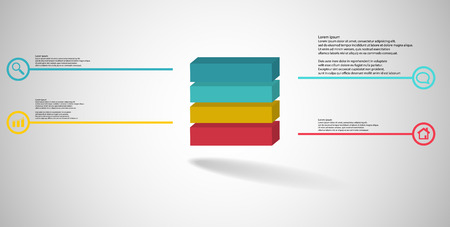 3D illustration infographic template. The embossed cube is horizontally divided to four color parts. Object is arranged on grey white background. Lines with signs are on sides.