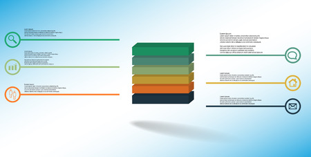 3D illustration infographic template. The embossed cube is horizontally divided to six color parts. Object is arranged on blue white background. Lines with signs are on sides.