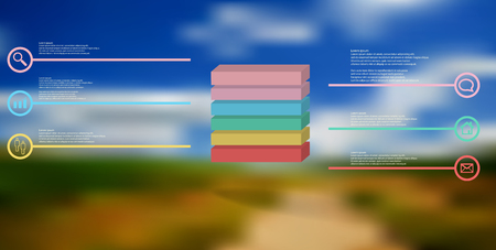 3D illustration infographic template. The embossed cube is horizontally divided to six color parts. Object is arranged on blurred photo background. Lines with signs are on sides.