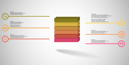 3D illustration infographic template. The embossed cube is horizontally divided to six color parts. Object is arranged on grey white background. Lines with signs are on sides.