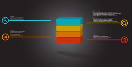 3D illustration infographic template. The embossed cube is horizontally divided to four color parts. Object is arranged on grey black background. Lines with signs are on sides.