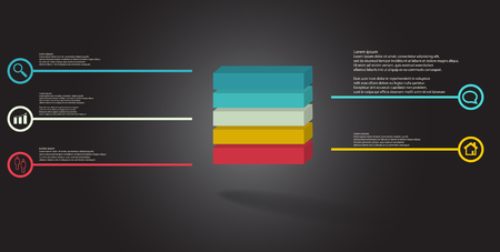 3D illustration infographic template. The embossed cube is horizontally divided to five color parts. Object is arranged on grey black background. Lines with signs are on sides.