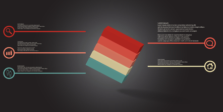 3D illustration infographic template. The embossed cube is horizontally divided to five color parts. Object is askew arranged on grey black background. Lines with signs are on sides. Illustration