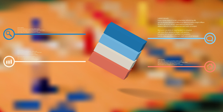 3D illustration infographic template. The embossed cube is horizontally divided to four color parts. Object is askew arranged on blurred photo. Lines with signs are on sides. Illustration