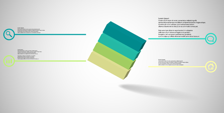 3D illustration infographic template. The embossed cube is horizontally divided to four color parts. Object is askew arranged on grey white background. Lines with signs are on sides. Vectores
