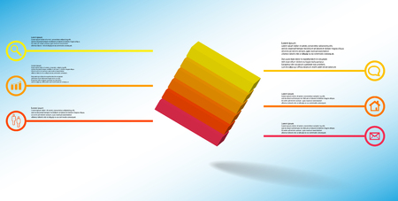 3D illustration infographic template. The embossed cube is horizontally divided to six color parts. Object is askew arranged on blue white background. Lines with signs are on sides.