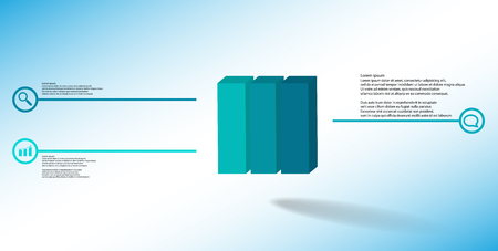 3D illustration infographic template. The embossed cube is vertically divided to three color parts. Object is arranged on blue white background. Lines with signs are on sides. Illustration