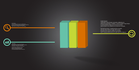 3D illustration infographic template. The embossed cube is vertically divided to three color parts. Object is arranged on grey black background. Lines with signs are on sides.