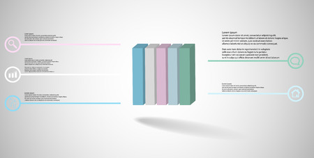 3D illustration infographic template. The embossed cube is vertically divided to five color parts. Object is arranged on grey white background. Lines with signs are on sides. Illustration