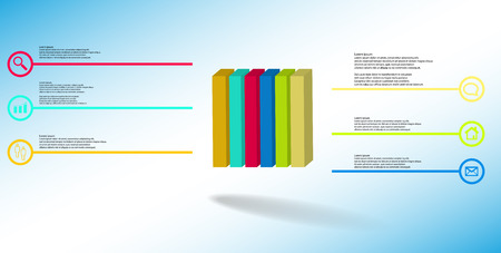 3D illustration infographic template. The embossed cube is vertically divided to six color parts. Object is arranged on blue white background. Lines with signs are on sides.