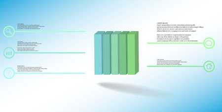 3D illustration infographic template. The embossed cube is vertically divided to five color parts. Object is arranged on blue white background. Lines with signs are on sides. Illustration