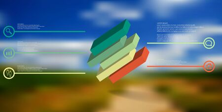 3D illustration infographic template. The embossed cube is horizontally divided to five shifted parts. Object is askew arranged on blurred photo. Lines with signs are on sides.