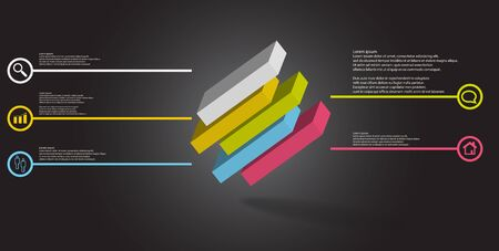 3D illustration infographic template. The embossed cube is horizontally divided to five shifted parts. Object is askew arranged on grey black background. Lines with signs are on sides. Illustration