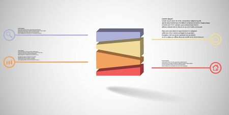 3D illustration infographic template. The embossed cube is randomly divided to four parts. Object is arranged on grey white background. Lines with signs are on sides.