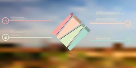 3D illustration infographic template. The embossed cube is vertically divided to four shifted parts. Object is askew arranged on blurred photo. Lines with signs are on sides. Stock Vector - 132217992