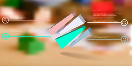 3D illustration infographic template. The embossed cube is randomly divided to four shifted color parts. Object is askew arranged on blurred photo. Lines with signs in circles are on sides.