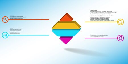 3D illustration infographic template. The embossed rhomb is horizontally divided to four color parts. Object is on blue white background. Lines with signs in circles are on sides.