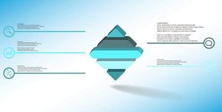 3D illustration infographic template. The embossed rhomb is horizontally divided to five color parts. Object is on blue white background. Lines with signs in circles are on sides. Illustration