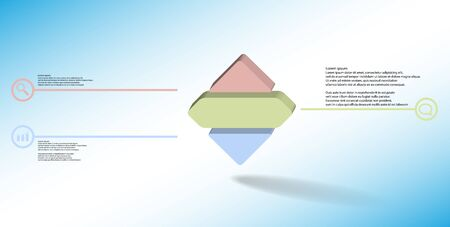 3D illustration infographic template. The embossed rhomb is horizontally divided to three color parts. Object is on blue white background. Lines with signs in circles are on sides.