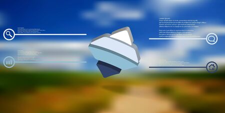 3D illustration infographic template. The embossed bent rhomb is horizontally divided to four color parts. Object is askew arranged on blurred photo background.