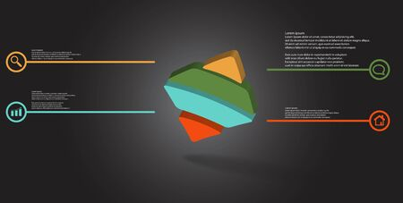 3D illustration infographic template. The embossed bent rhomb is horizontally divided to four color parts. Object is askew arranged on grey black background.