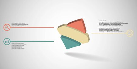 3D illustration infographic template. The embossed bent rhomb is horizontally divided to three color parts. Object is askew arranged on grey white background.