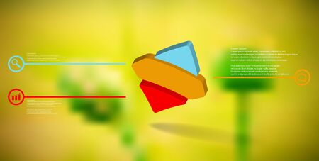 3D illustration infographic template. The embossed bent rhomb is horizontally divided to three color parts. Object is askew arranged on blurred photo background.