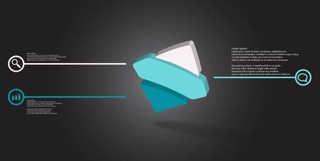 3D illustration infographic template. The embossed bent rhomb is horizontally divided to three color parts. Object is askew arranged on grey black background.