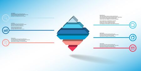 3D illustration infographic template. The embossed rhomb is horizontally divided to six color parts. Object is on blue white background. Lines with signs in circles are on sides. Stock Vector - 136094747