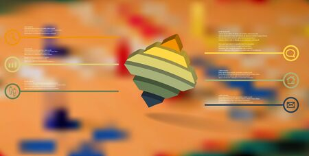 3D illustration infographic template. The embossed bent rhomb is horizontally divided to six color parts. Object is askew arranged on blurred photo background. Stock Vector - 136094750