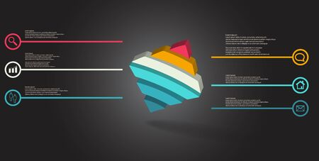 3D illustration infographic template. The embossed bent rhomb is horizontally divided to six color parts. Object is askew arranged on grey black background. Illustration