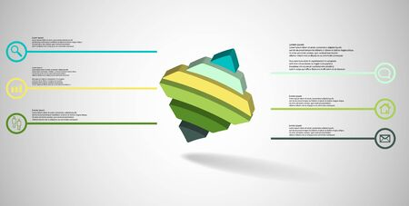 3D illustration infographic template. The embossed bent rhomb is horizontally divided to six color parts. Object is askew arranged on grey white background. Stock Vector - 136094752
