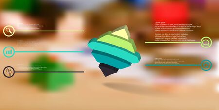 3D illustration infographic template. The embossed bent rhomb is horizontally divided to five color parts. Object is askew arranged on blurred photo background.