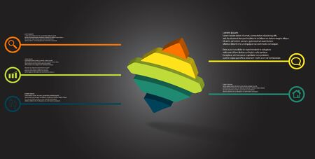 3D illustration infographic template. The embossed bent rhomb is horizontally divided to five color parts. Object is askew arranged on grey black background. Illustration