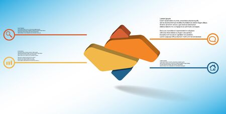 3D illustration infographic template. The embossed rhomb is randomly divided to four color parts. Object is arranged on blue white background. Illustration