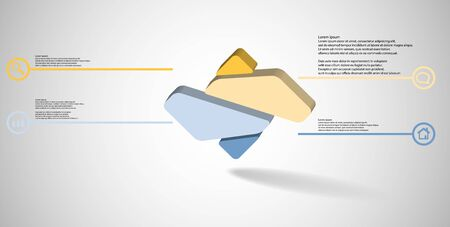 3D illustration infographic template. The embossed rhomb is randomly divided to four color parts. Object is arranged on grey white background.  Illustration