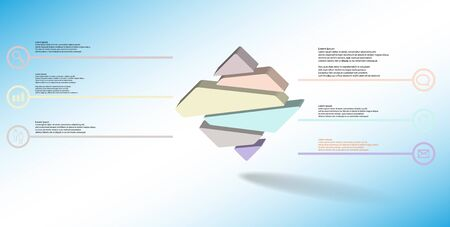 3D illustration infographic template. The embossed rhomb is randomly divided to six color parts. Object is arranged on blue white background.