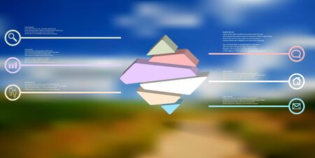 3D illustration infographic template. The embossed rhomb is randomly divided to six color parts. Object is arranged on blurred photo background.  Illustration