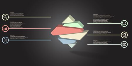 3D illustration infographic template. The embossed rhomb is randomly divided to six color parts. Object is arranged on grey black background.