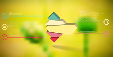 3D illustration infographic template. The embossed rhomb is randomly divided to five color parts. Object is arranged on blurred photo background. Stock Vector - 136095049