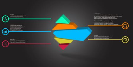3D illustration infographic template. The embossed rhomb is randomly divided to five color parts. Object is arranged on grey black background. Illustration