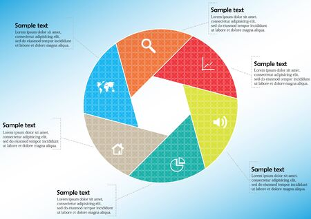 Vector infographic template with circle divided to six color parts to create hexagonal shape. All sections contain pattern and texture fill. Background is light blue.