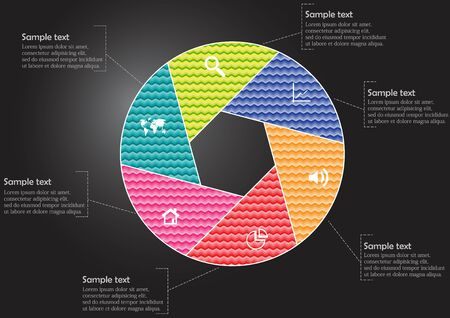 Vector infographic template with circle divided to six color parts to create hexagonal shape. All sections contain pattern and texture fill. Background is dark black.