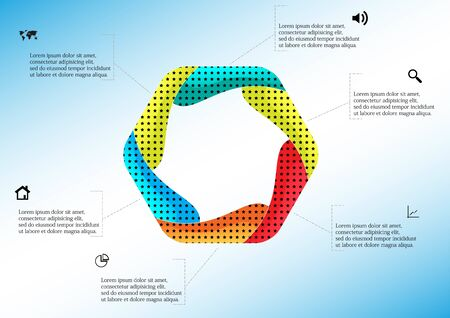 Vector infographic template with colorful hexagon. Hexagon is created by six curved elements. All sections contain pattern and texture fill. Background is light blue.