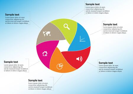 Vector infographic template with circle divided to six color parts to create hexagonal shape. All sections contains pattern and texture fill. Background is light blue.