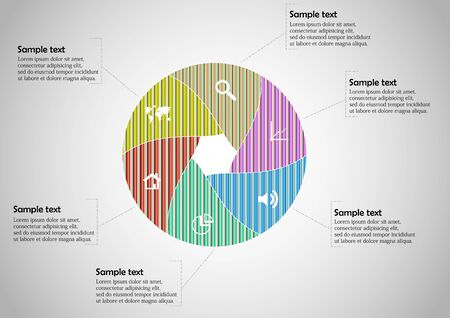 Vector infographic template with circle divided to six color parts to create hexagonal shape. All sections contain pattern and texture fill. Background is light grey.